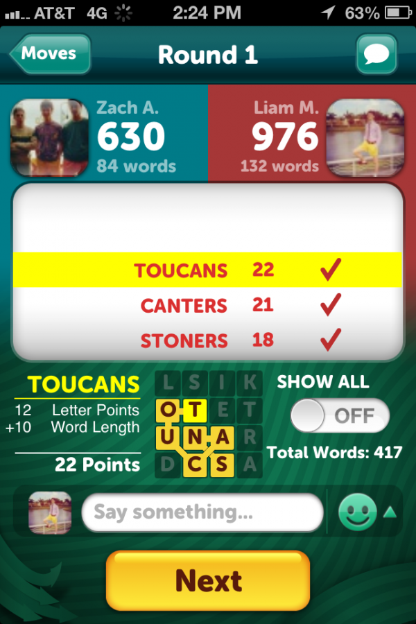 Once each round is completed by both players, the scoring and word totals will be displayed, along with the words each user played and all the words they missed, while allowing the users to chat with other.
