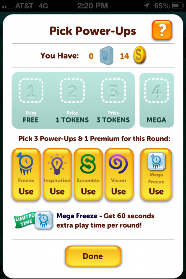 Before the round begins, the user can chooe from the selection of power-ups using their coin balance.