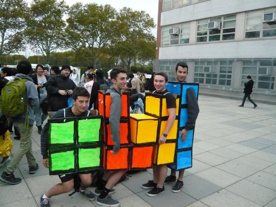Roni Pitkowski '15, Peter Coulombe '15, Aidan Landauer '15, Will Yarinsky '15 dressed as Tetris pieces