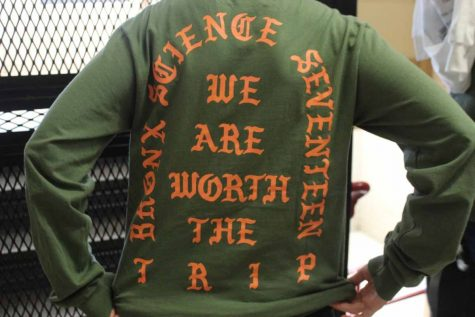 Francie Keeler '17 wears a shirt imitating Kanye West's The Life of Pablo merchandise.