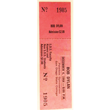 A ticket from a 1962 Bob Dylan concert, held at San Diego State University.