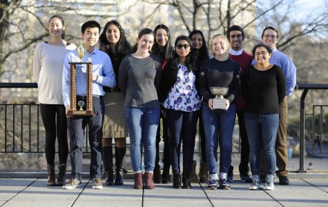 The Moot Court team, pictured with their awards.