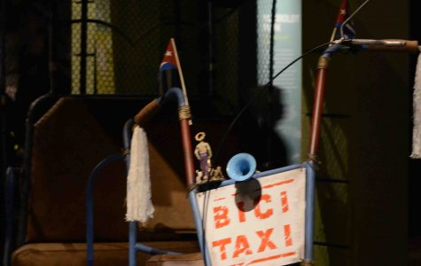 A taxi that resembles those found in Cuba was featured in the museum exhibit.