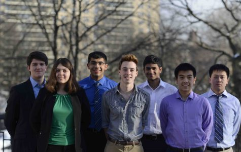 Regeneron Scholars and Finalist (from left to right) George Stefanakis '17,  Isabella Greco '17 (finalist), Neeraj Sakhrani '17, Aidan Gibbons '17,  Nikhil Devraj  '17, Ryan Foo '17, and  Tyrone Zhang '17.