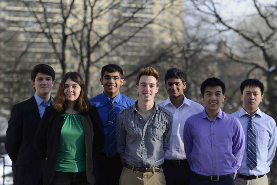 Regeneron Scholars and Finalist (from left to right) George Stefanakis '17,  Isabella Greco '17 (finalist), Neeraj Sakhrani '17, Aidan Gibbons '17,  Nikhil Devraj  '17, Ryan Foo '17, and  Tyrone Zhang '17.
