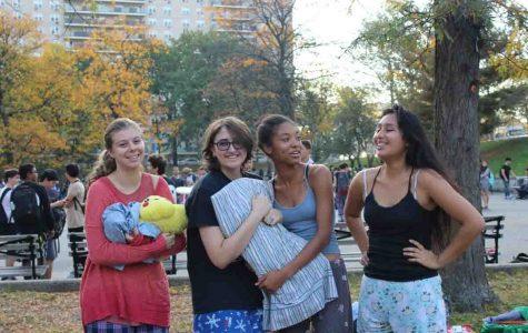 Lauren Mirkovich '17, Katrina Ramazan '17, Jasmyn Crumpler '17, and Kimberly Cruz '17 sporting comfy attire.