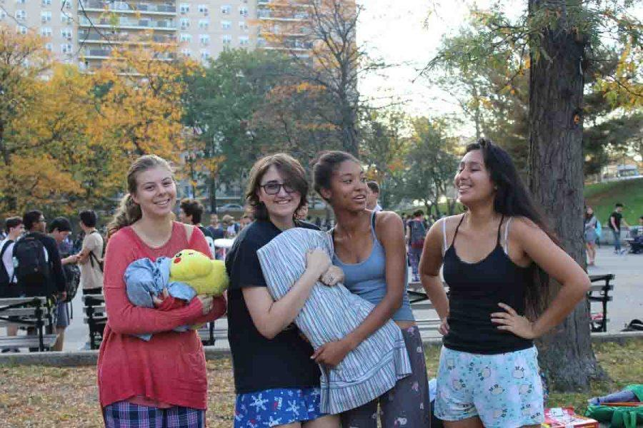 Lauren Mirkovich '17, Katrina Ramazan '17, Jasmyn Crumpler '17, and Kimberly Cruz '17 sporting comfy attire.