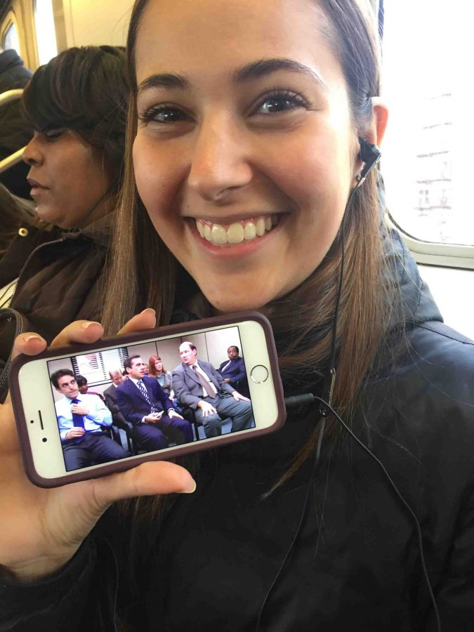 Sabrina Scollar '17 unwinds during her commute home by watching The Office through Netflix's offline feature.