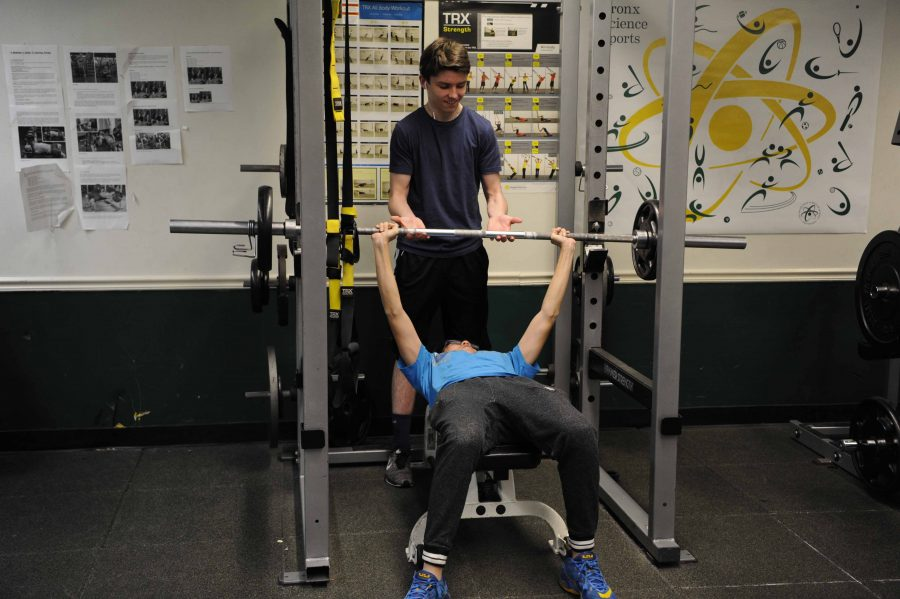 Patrick+Burke+%E2%80%9818+spots+his+friend+on+the+bench+press%2C+as+they+both+work+towards+making+it+into+the+500+Club.