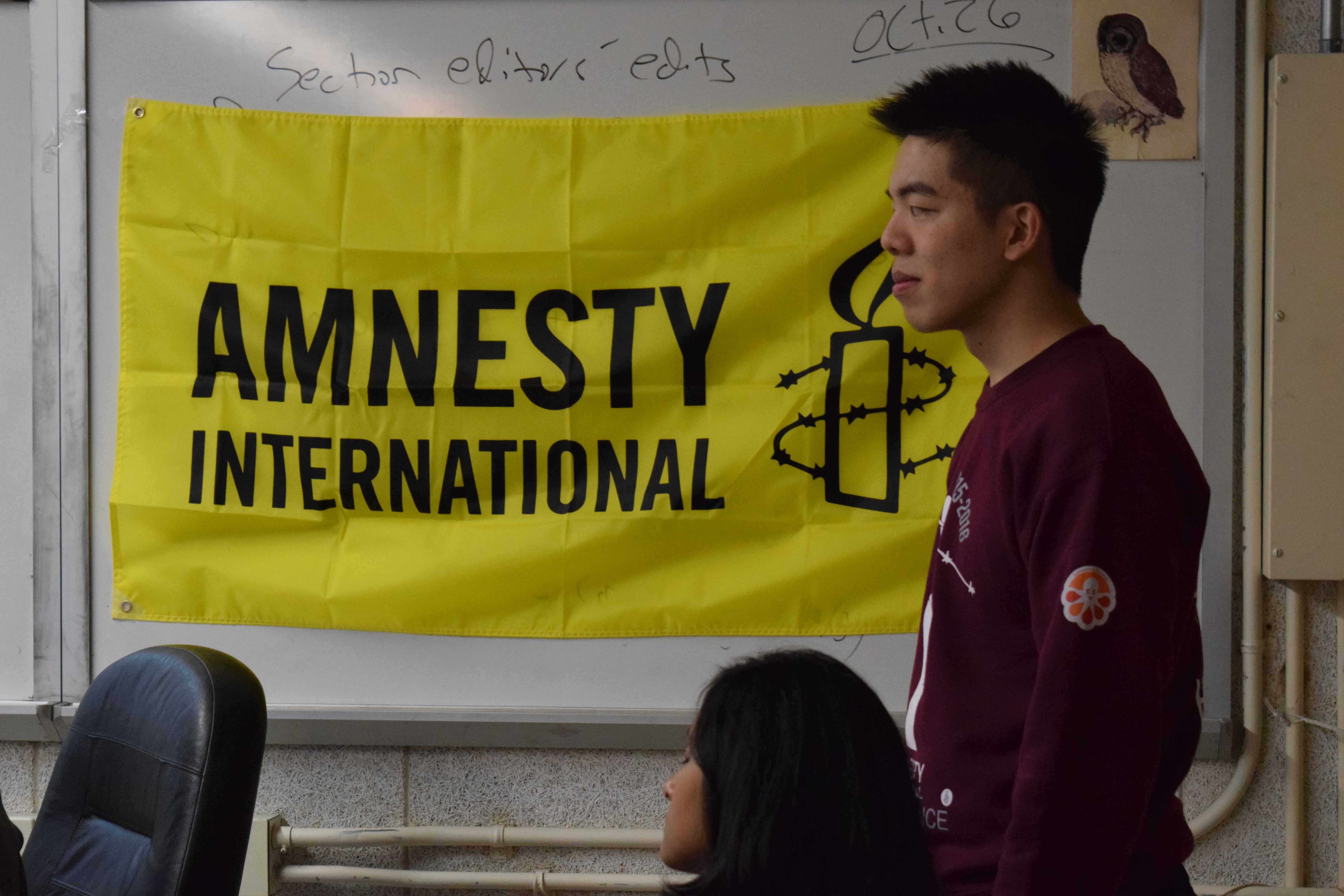 Jason Qu '17, a member of Bronx Science's Amnesty International chapter, is involved with raising awareness and taking initiative with humanitarian crises.