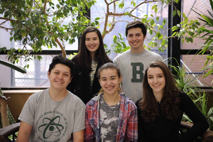 Front Row (L-R): Vice President Matthew Burke, President Sabrina Raouf, Secretary Chloe Frajmund; Back Row (L-R): Junior School Leadership Team Representative Johanna Neggie, Senior Council President Michael Miller