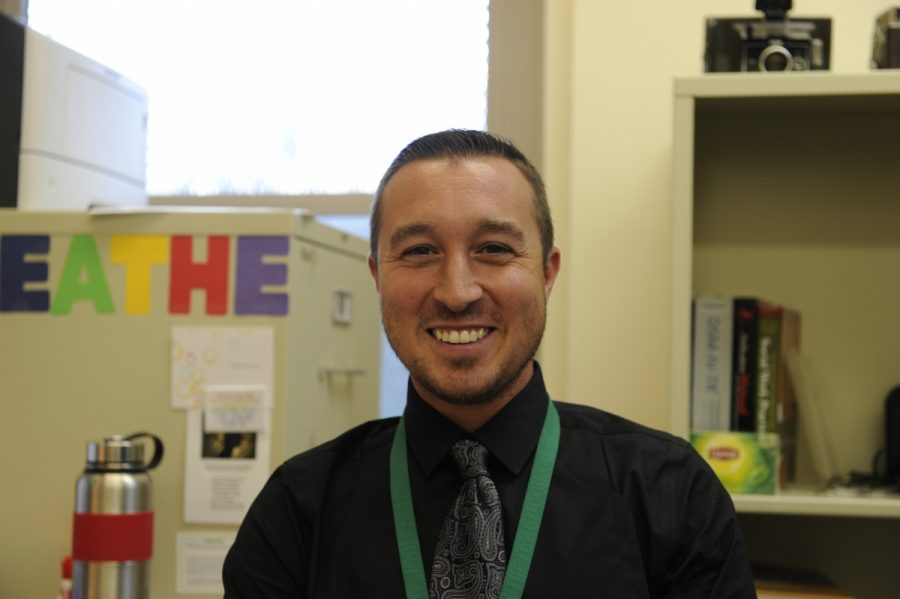 "Mr. Cogliano, our school's new social worker, encourages students to take a moment to ""breathe."""