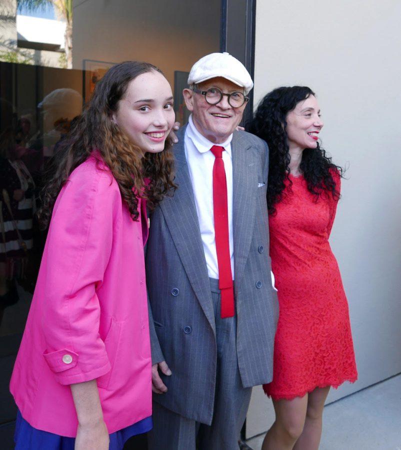 Oona Zlamany '18 and David Hockney at his art exhibition in Malibu.