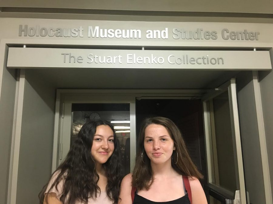 Julia Haberfield '19 (left) and Mary Tyrrell '19 (right) in front of the Holocaust Museum and Studies Center, on the way to their Holocaust Leadership class.