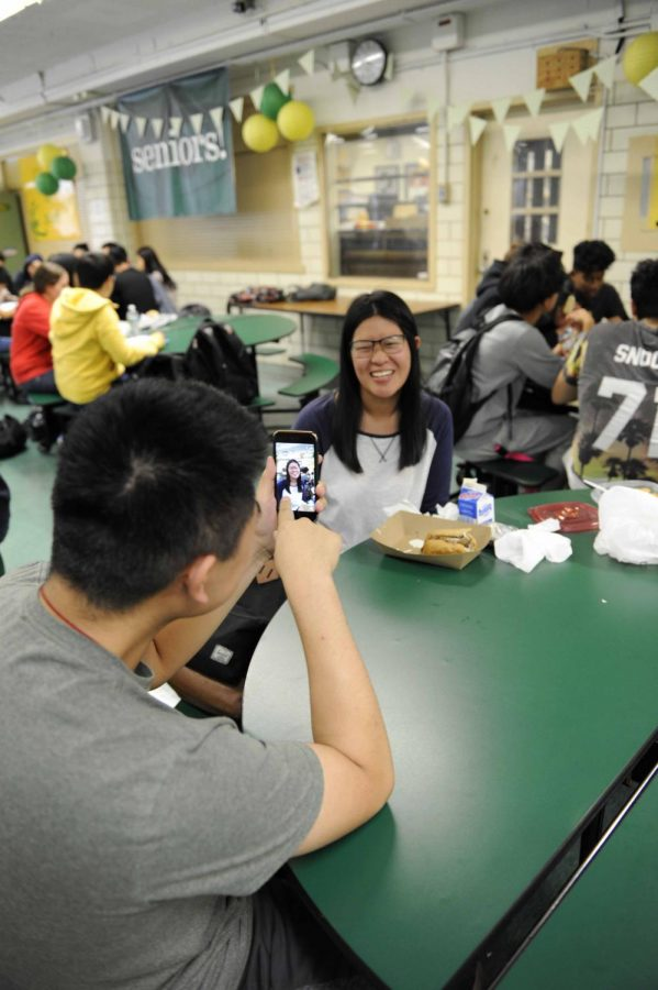 Students try out the new Snapchat app.