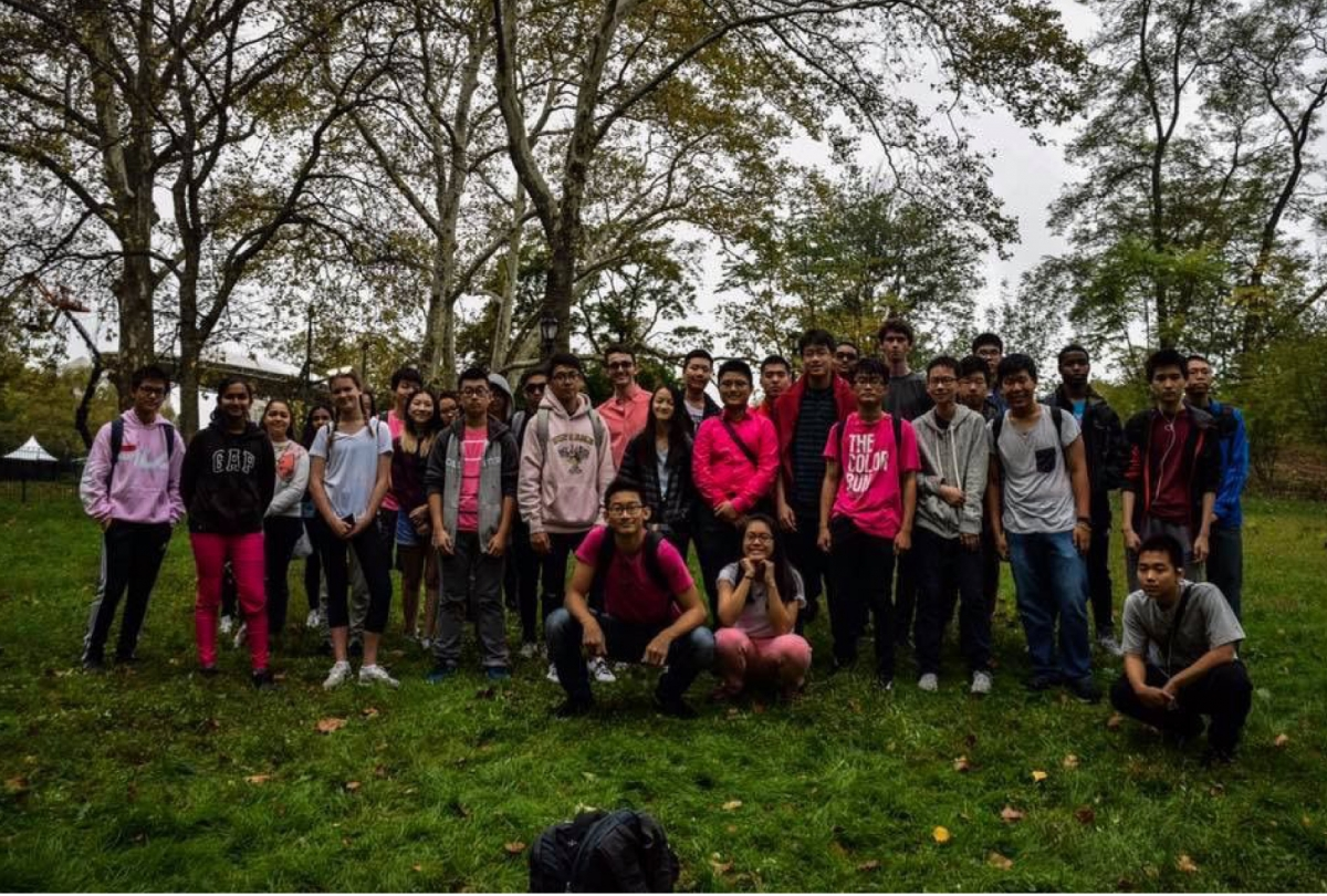 Key Club Members gather before walking in the annual 5K Breast Cancer Walk in Central Park.