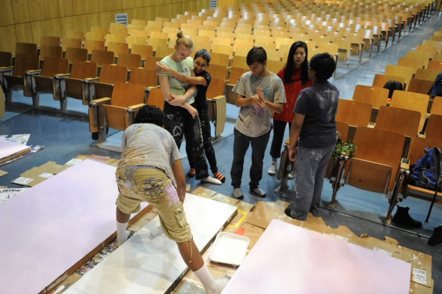 Members of the Stage Crew begin work on the set for Arsenic and Old Lace, once rights for it had been secured.