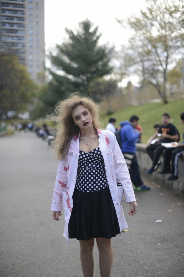 Kateryna Slinchenkova, '18 dressed as a zombie, one of the most original costumes at Bronx Science for Halloween 2017, and the culmination of a long history as detailed in this article.