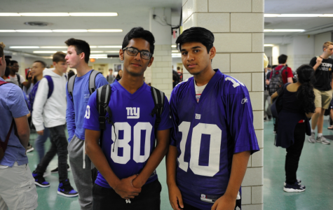 """""""I love wearing my sports jerseys to school! I love the competition and pride that lies along the professional sports teams rivalries at Bronx Science. Let's go Giants!"""" Sameer Chowdhury 19' said."""