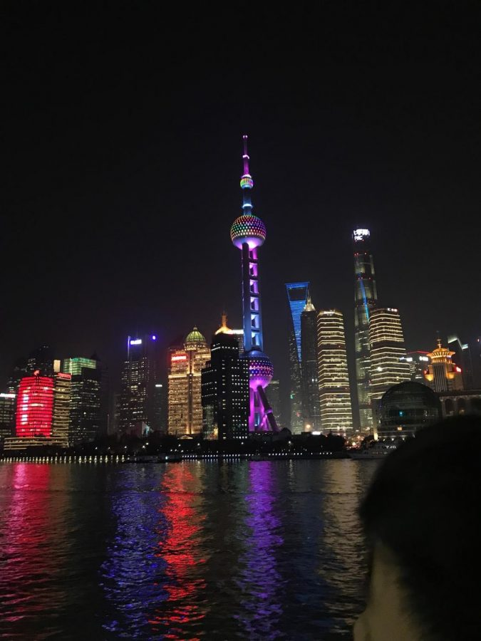 Montana Lee '21 relished in the Bund's vivid lights late at night.