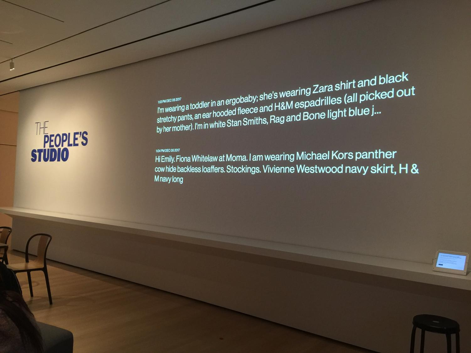 The exhibit shows descriptions of outfits worn by patrons at MoMA.