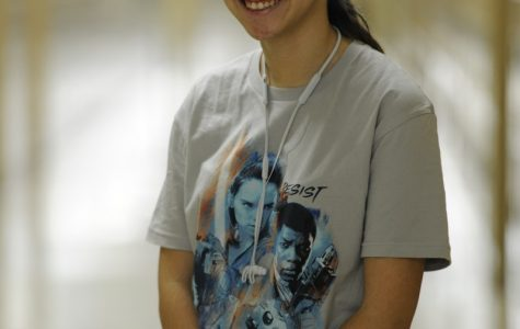 Sabrina Raouf '18, proudly wears her new Star Wars t-shirt.
