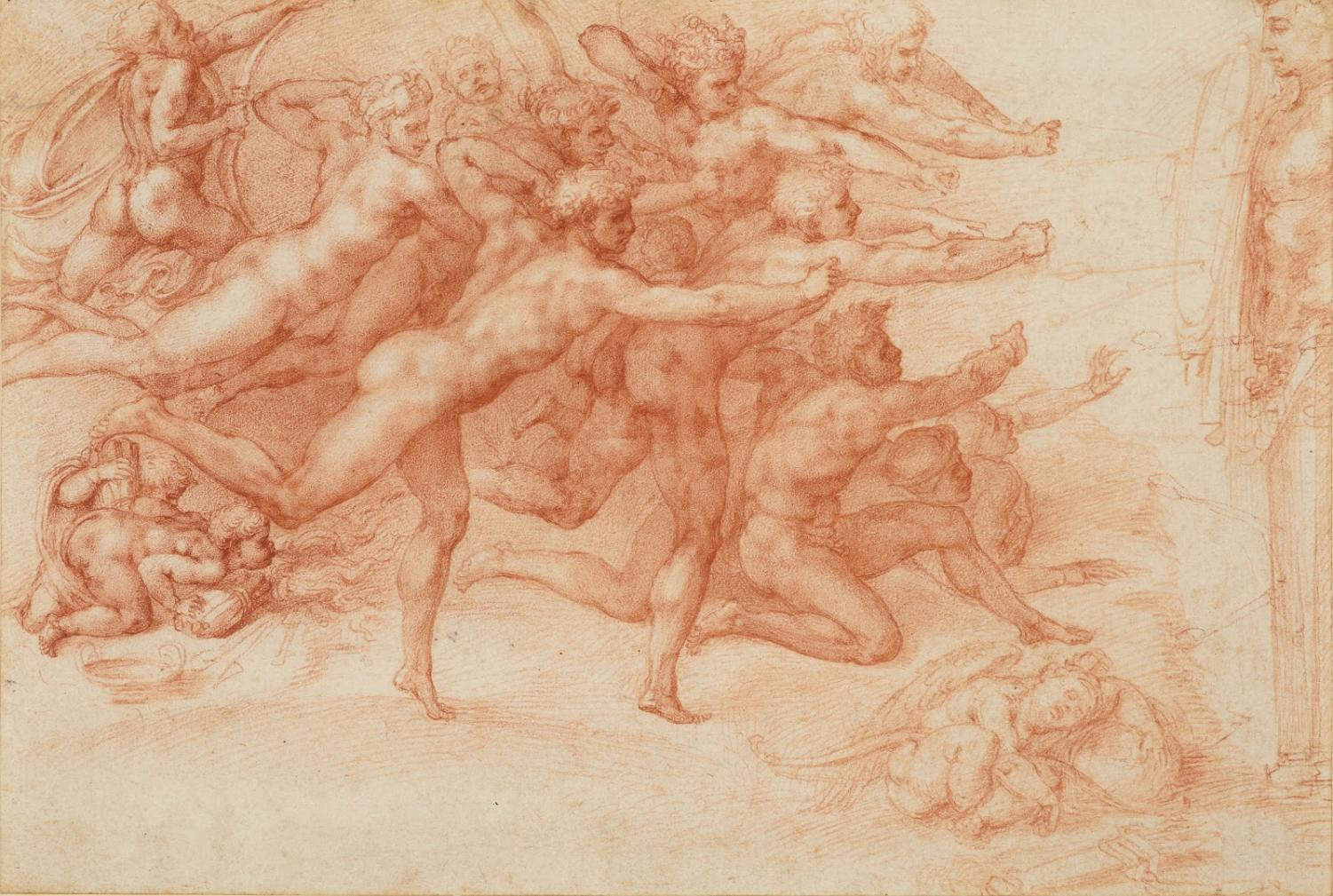Image courtesy of The Metropolitan Museum of Art Michelangelo Buonarroti (Italian, Caprese 1475–1564 Rome)  Archers Shooting at a Herm 1530–33  Drawing, red chalk; 8 5/8 x 12 11/16 in. (21.9 x 32.3 cm)  ROYAL COLLECTION TRUST / © HER MAJESTY QUEEN  ELIZABETH II 2017,  www.royalcollection.org.uk