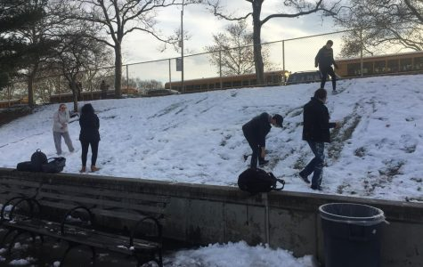 Bronx Science students play after the first snowfall of the winter.