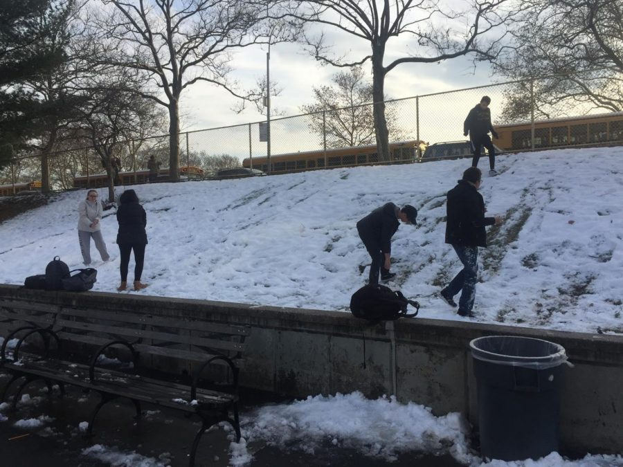 Bronx+Science+students+play+after+the+first+snowfall+of+the+winter.