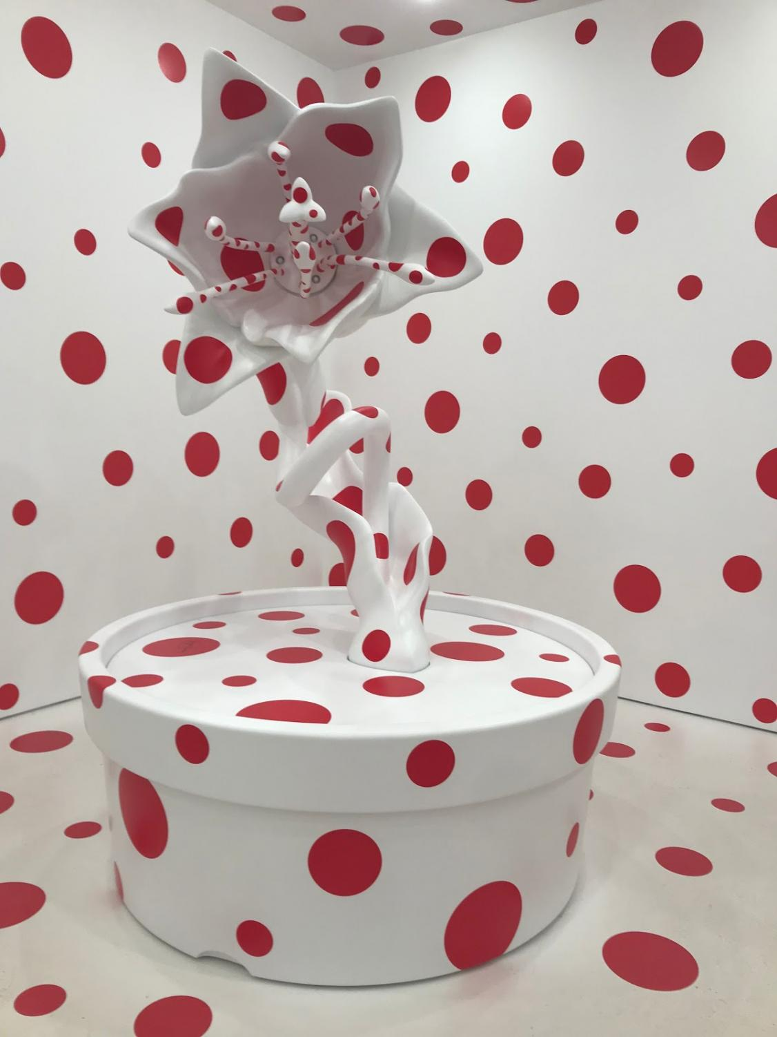 "A corner of the room in Kusama's  piece ""With All My Love for  the Tulips, I Pray Forever."""