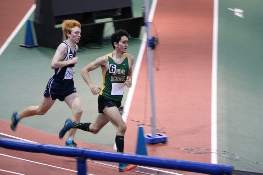 Ben Wade '19 sprints to the finish during a Boys' Varsity Indoor Track meet.