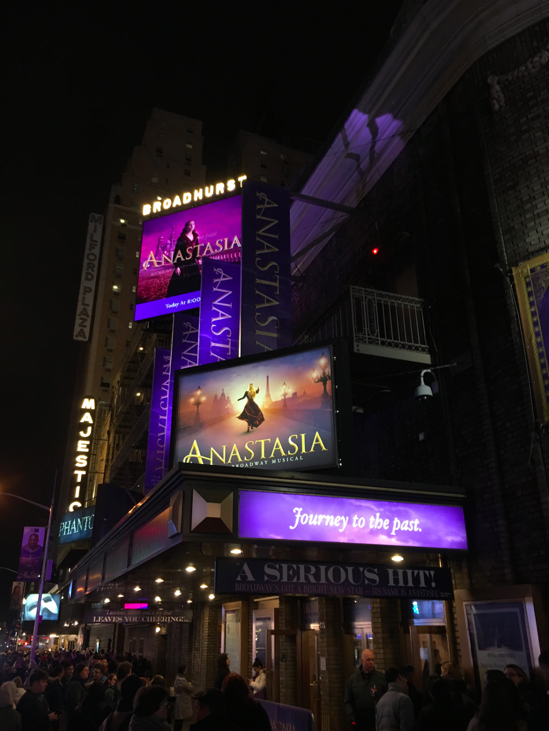 The Broadhurst Theater, where the musical 'Anastasia', based on a movie of the same name, is performed.