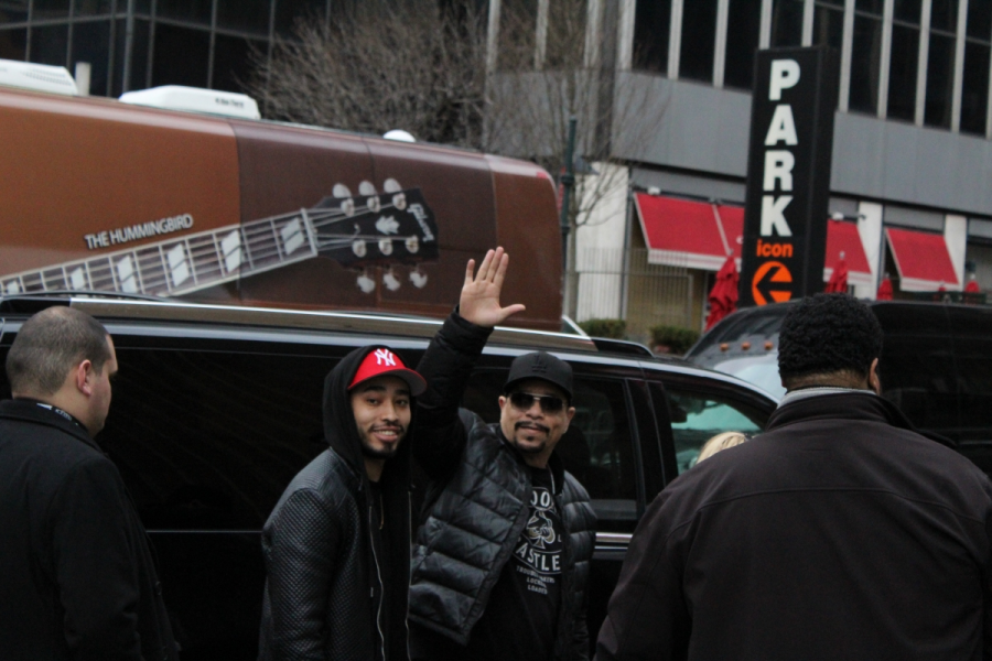 Rapper and actor Ice T waves to his fans outside Madison Square Garden.