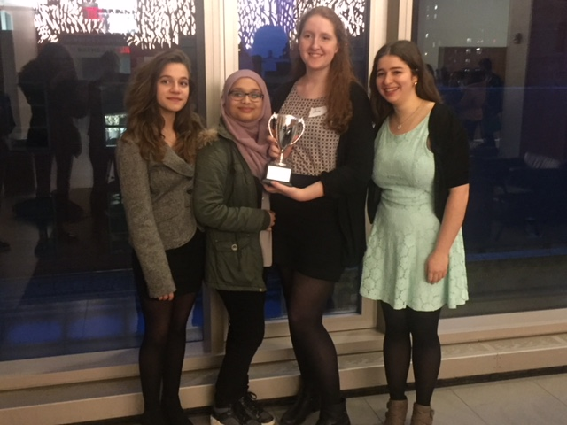 From Left to Right: Christina Papageorgiou '18, Kashfia Zaman '18, Anna Clevenger '18, and Gali Davar '18 with their Ethics Bown trophy.