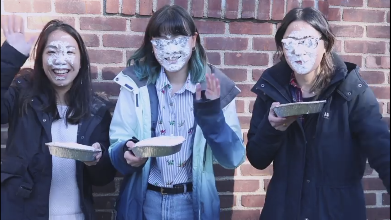 Victoria Yu '18, Alexandria Ang '18, and Kristina Ang '18 pie themselves in video to raise money for LLS.