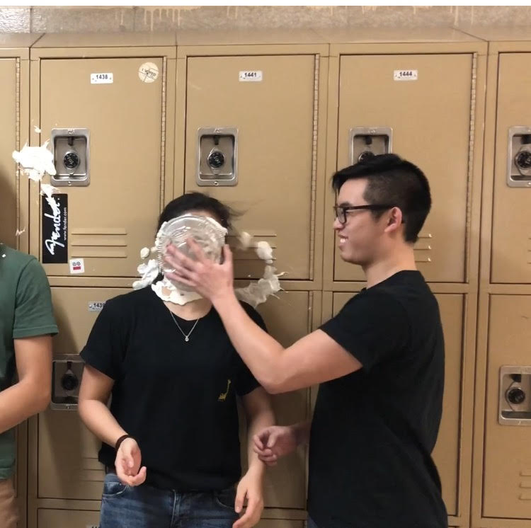 Jessica Wang '18 gets pied in the face after being  nominated for the LSS challenge.