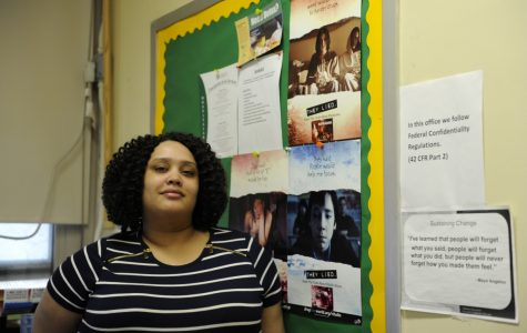 """Substance abuse posters line the room of Ms. Morisset, the substance abuse counselor of Bronx Science. """" Research on nicotine dependence shows that key symptoms of addiction can appear in young people within weeks or only days after occasional smoking and well before daily smoking begins,"""" said Ms. Morisset."""