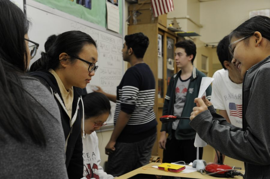 Members of the Bronx Science Film Production Club work collaboratively.