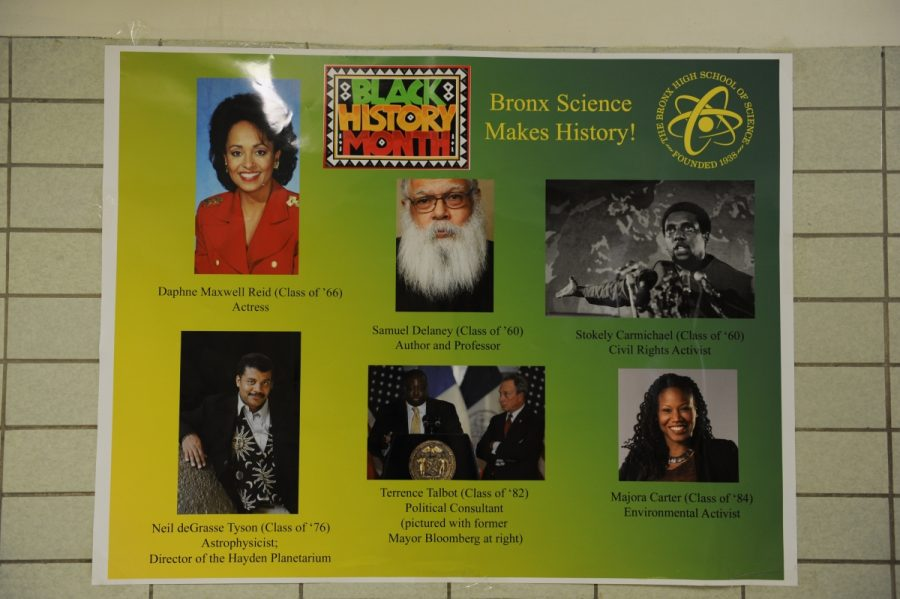 Bronx Science gives recognition to its own famous African-American alumni by honoring Daphne Maxwell Reid, Samuel Delaney, Stokely Carmichael, Neil deGrasse Tyson, Terrence Talbot, and Majora Carter in a special Black History Month poster.