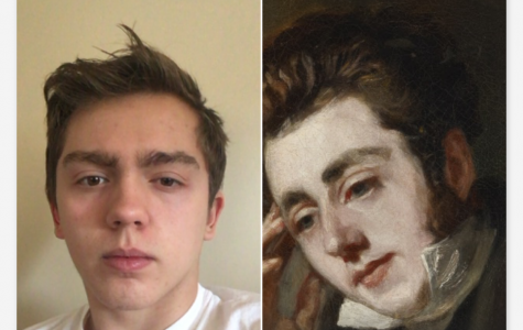 Ethan Paliwoda '19 was flattered by the comparison between his selfie and a portrait of the Polish composer Chopin, in a portrait by Anonymous.