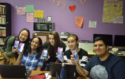 Students (left to right) Alison Cheung '18, Swara Kalva '18, Chloe Frajmund '19, Sabrina Raouf '18, and Zaid Sarmad '18, at their daily 3 p.m. gathering to play HQ.