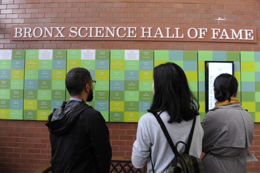On Sunday, June 3, 2018, many alumni returned to Bronx Science for Alumni Day in celebration of the school's 80th anniversary, and many admired the Hall of Fame installation in the main lobby.