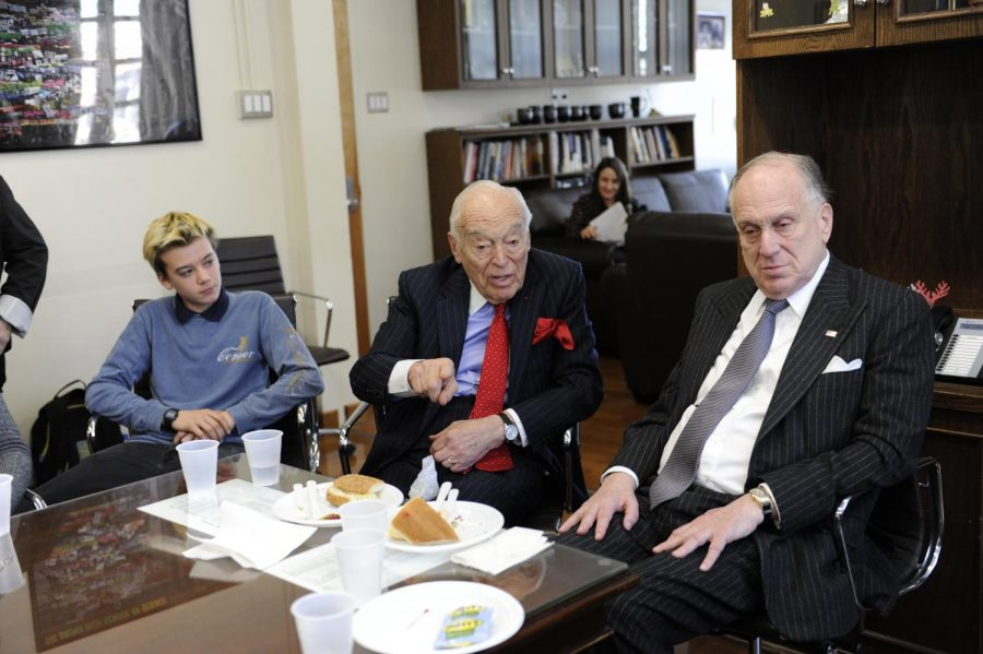 Leonard Lauder gives advice to current Bronx Science students during a catered lunch.