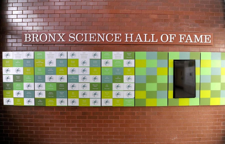The+Hall+of+Fame%2C+pictured+above%2C+is+an+installation+in+the+Bronx+Science+lobby+which+displays+the+names+of+esteemed+alumni.