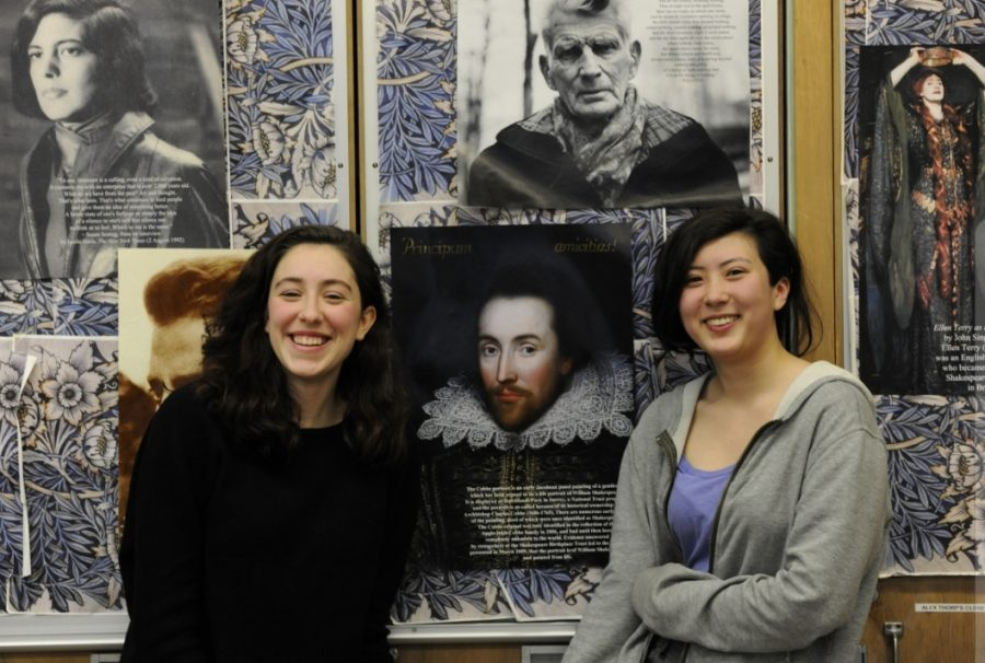 Ava Vercesi '19 (winner, on left) and Jing-Mae Wang '20 (runner up, on right), stand in front of a print of the newly discovered Cobbe portrait of William Shakespeare