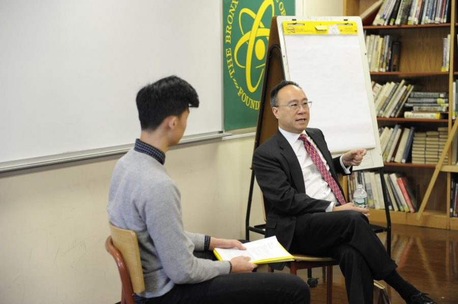 Derek Peng 18' interview King Lai in the library.