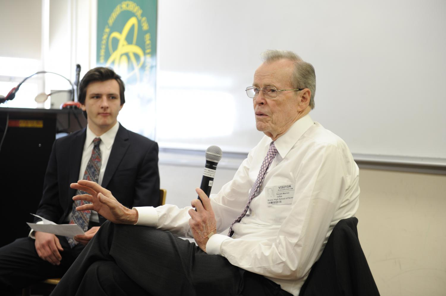 Donald Marron discusses his life and work with student interviewer Max Porlein '18.