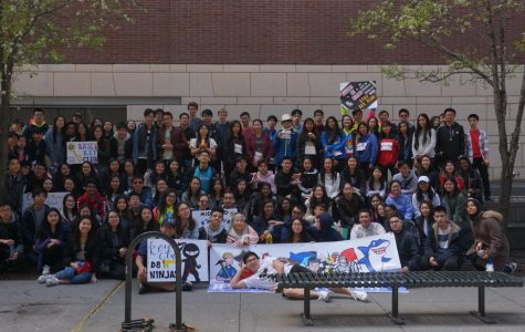 Bronx Science Key Club members, along with members from other Key Clubs around the city, gather for a group photo after the walk.