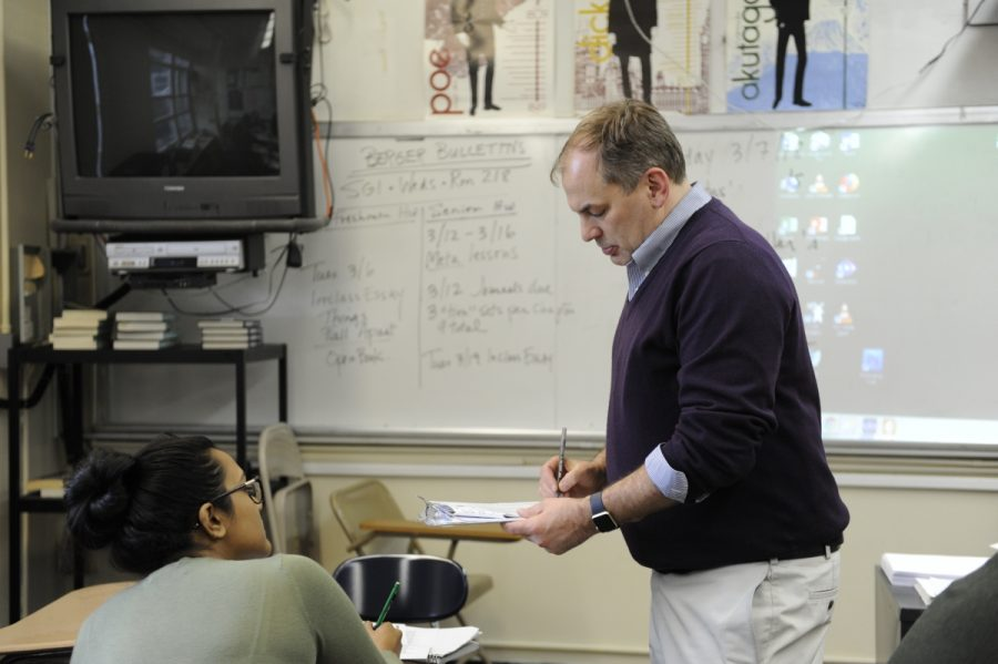 English Teacher Mr. McConnell teaches poetry to his A.P. English Language class for National Poetry Month.