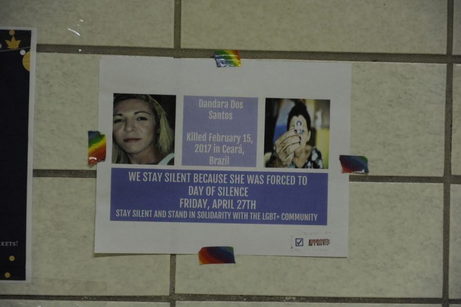 This poster remembering Dandara Dos Santos is one of the many posted around the school by the GSA to promote the Day of Silence.
